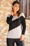 Women's Sequin Black Blouse - Mavoli.com