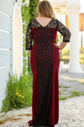 Plus Size Lace Embroidered Claret Red Evening Dress