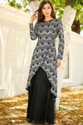 Women's Glitter Lace Black Evening Dress