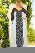Plus Size Lace Embroidered Blue Evening Dress