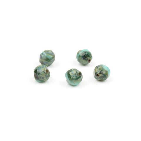8mm Czech FP Emerald & Aqua Irregular Round Bead
