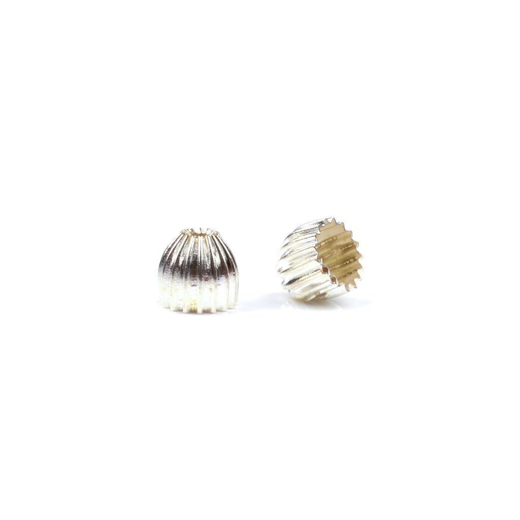 Pair Silver Corrugated End Cap