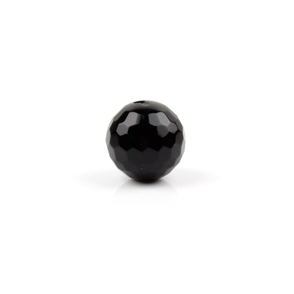12mm Black Agate Faceted Round Bead