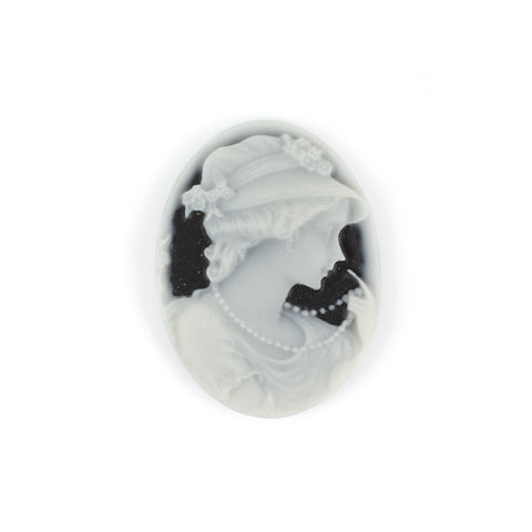 Victorian Lady Black & Grey Cameo