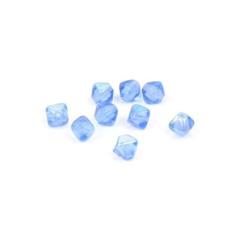 6mm Blue AB Czech Glass Bicone Bead