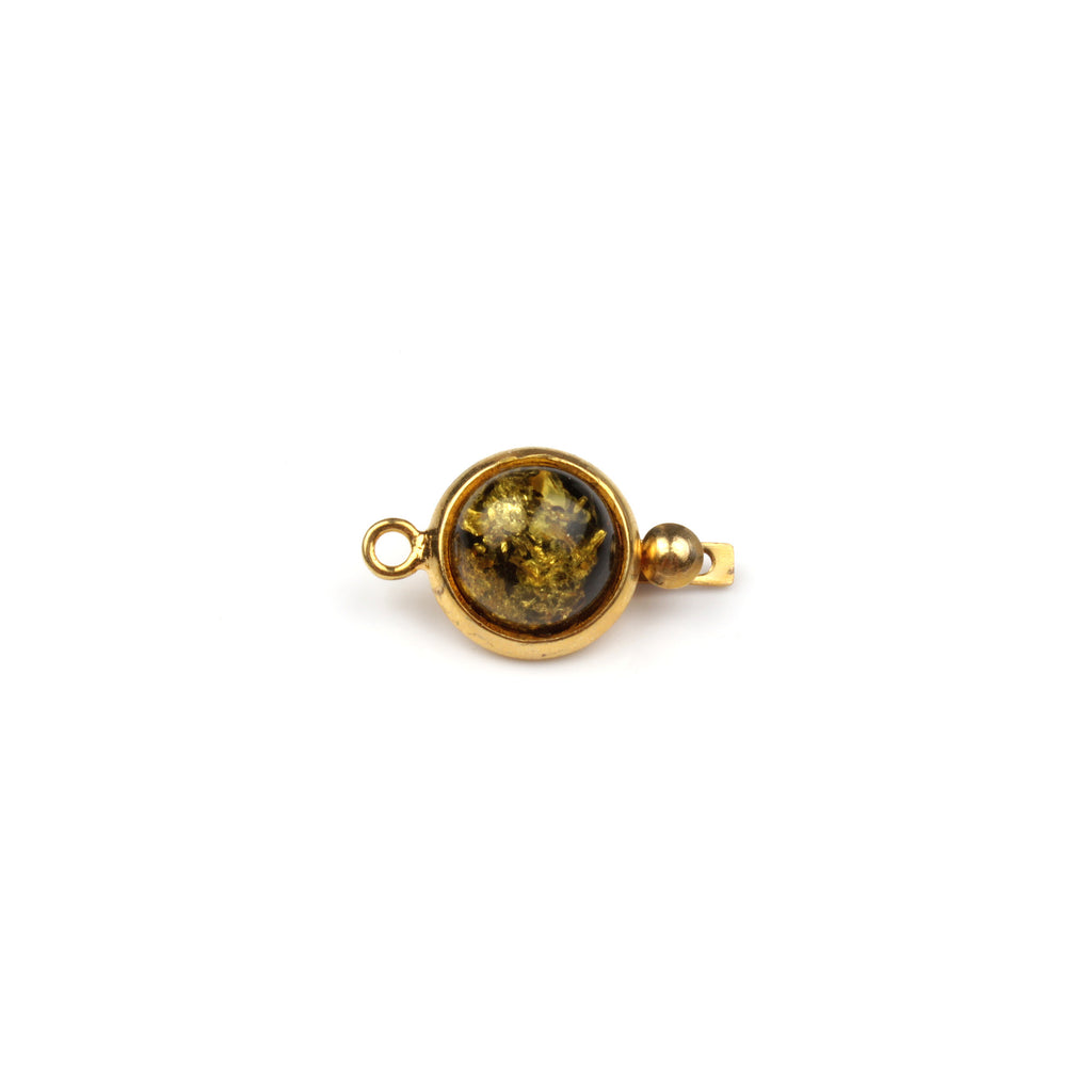 Green Amber Box Clasp - Gold