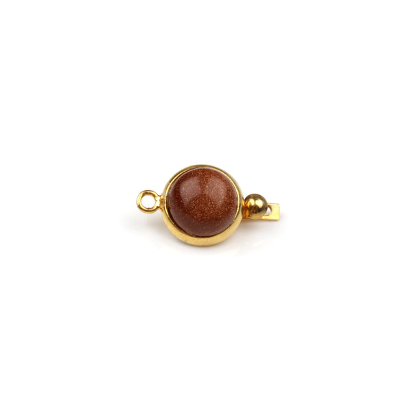 Brown Goldstone Box Clasp - Gold