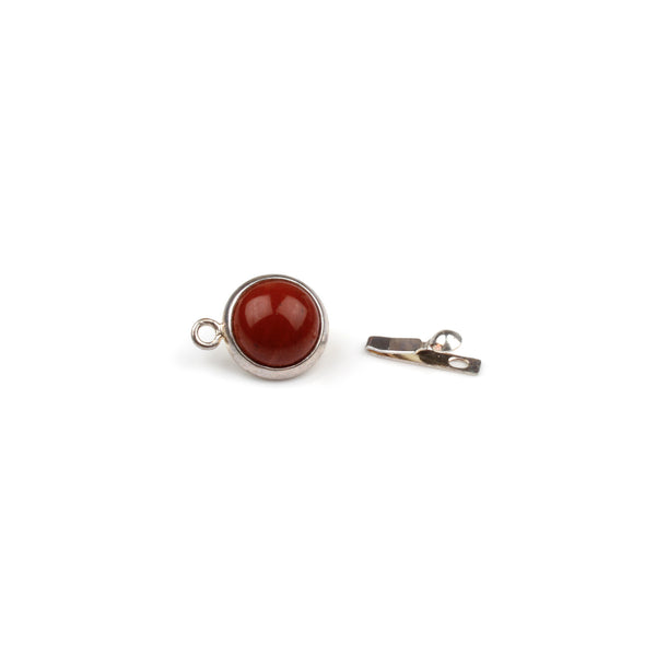 Red Jasper Box Clasp - Silver