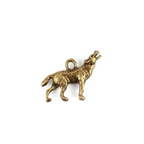 Antique Bronze Wolf Charm