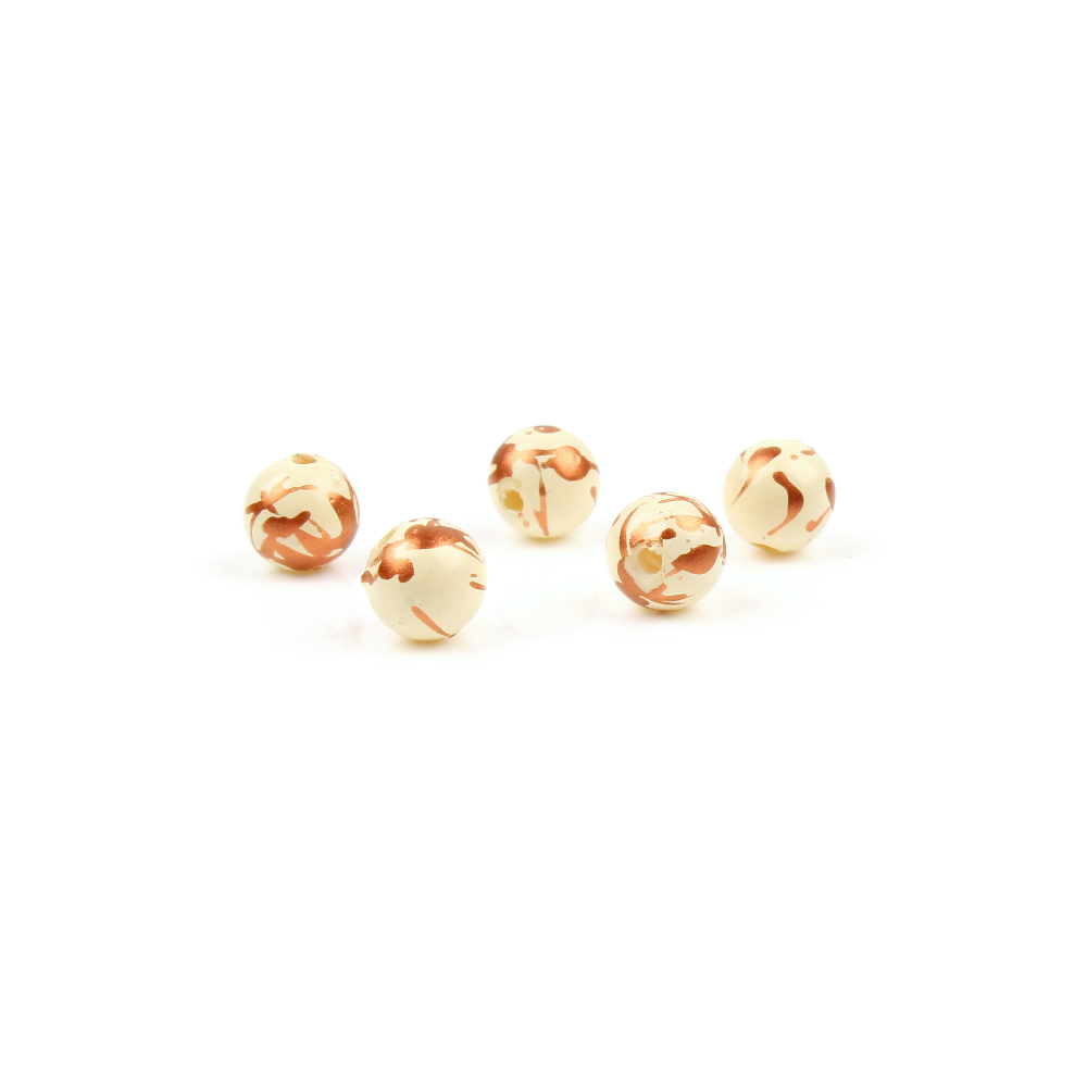 6mm Cream & Copper Drizzle Bead