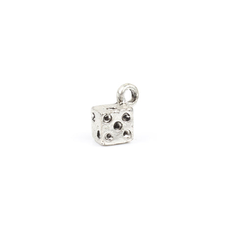 Antique Silver 3D Dice Charm