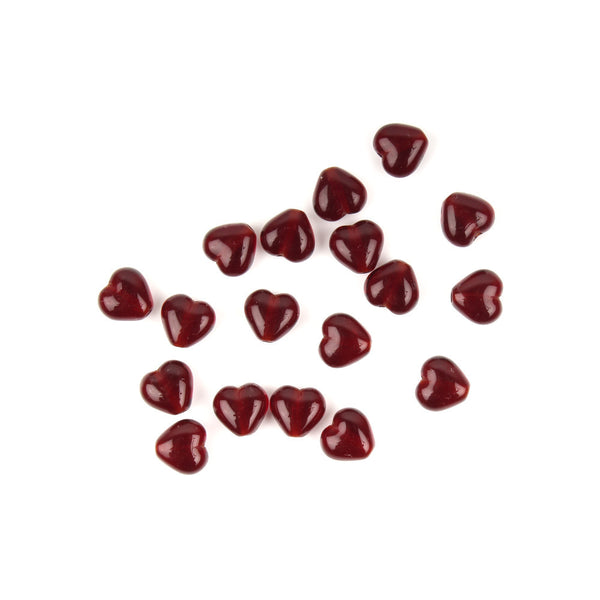 6mm Ruby Red Czech Glass Heart Bead
