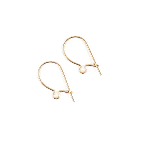 1 Pair Small Gold Kidney Wire Earrings