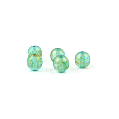 8mm Czech Glass Emerald Green Gold Sparkle Round Bead