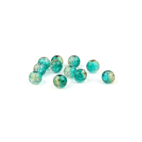 6mm Green & Gold Crackle Glass Bead