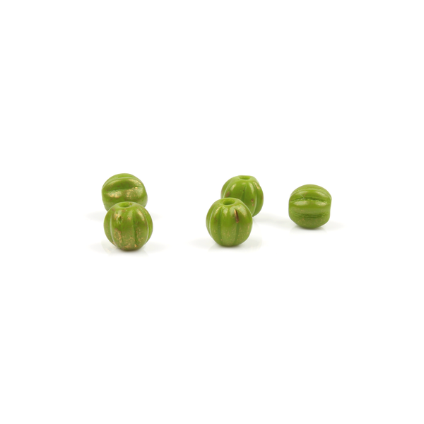 5mm Olive Gold Czech Glass Melon Bead