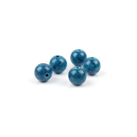 8mm Peacock Blue Fossil Stone Round Bead