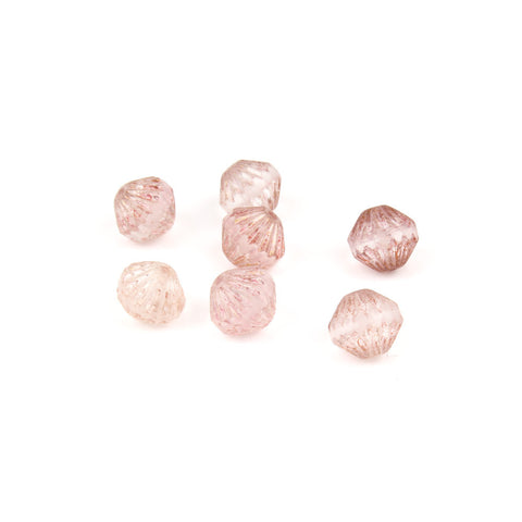 9mm Czech Glass Pink Fluted Bead