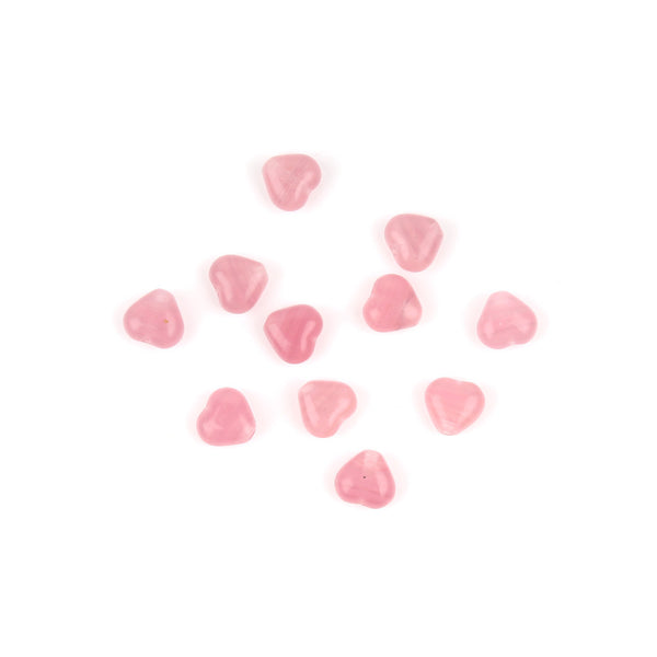 6mm Pale Pink Czech Glass Heart Bead