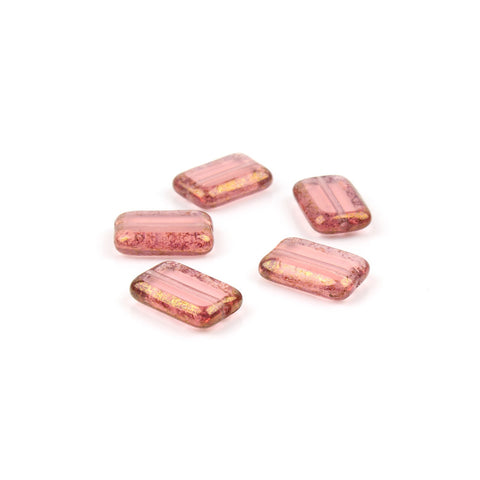 Pink Lustre Czech Glass Rectangle Window Bead