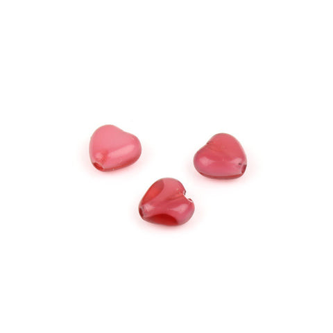 6mm Red Czech Glass Heart Bead
