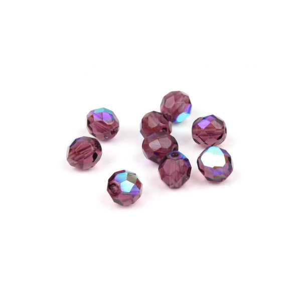 8mm Czech FP Dark Amethyst AB Faceted Bead