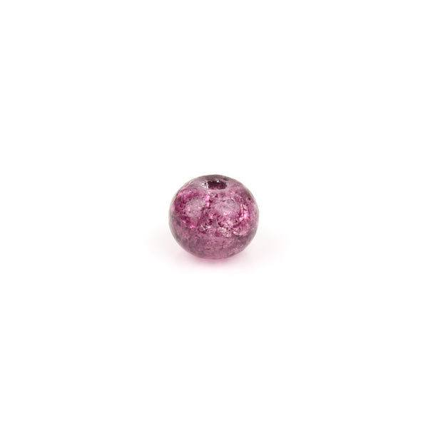 6mm Amethyst Crackle Glass Bead