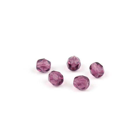 6mm Czech Purple Faceted Bead