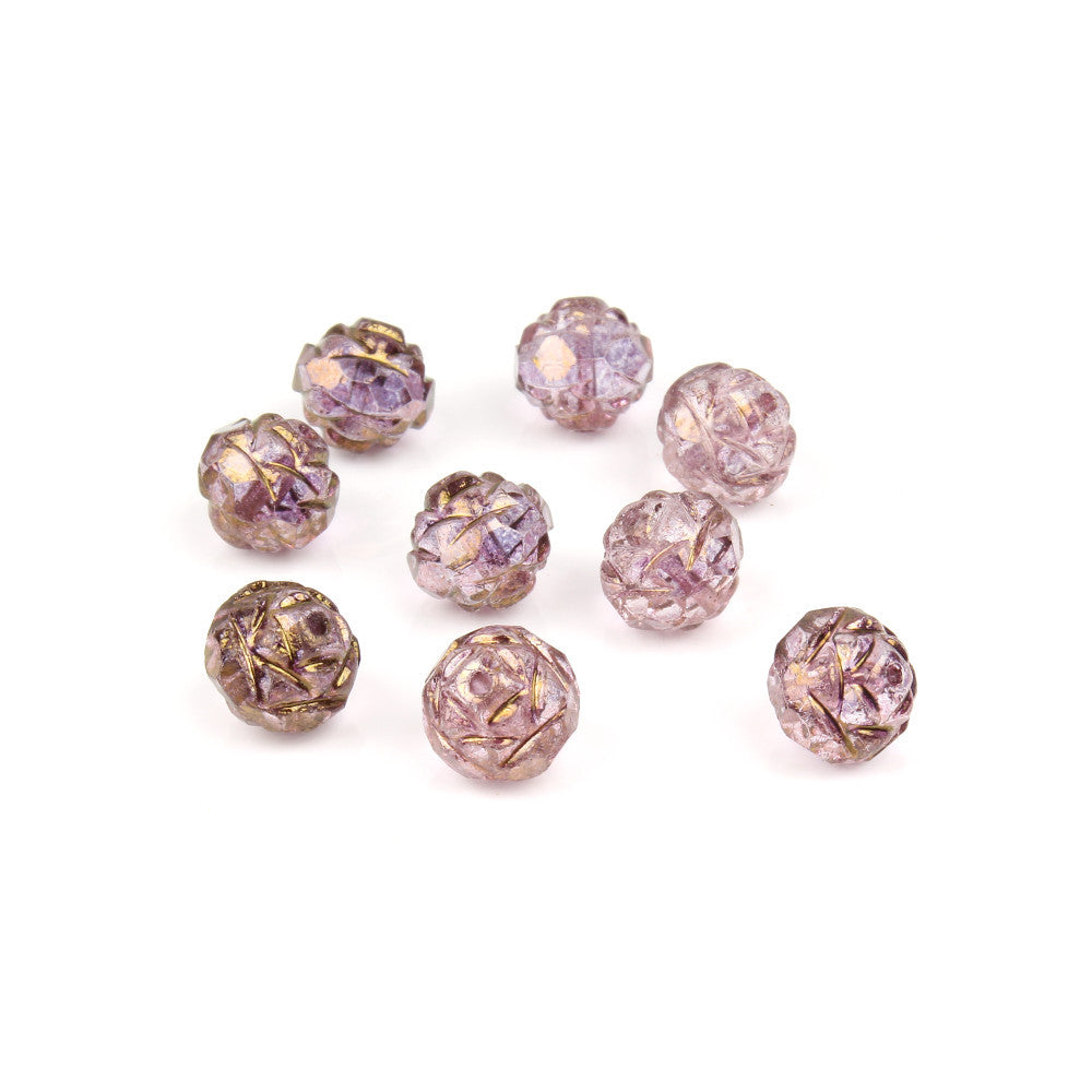 8mm Czech Glass Amethyst Gold Rose Bead