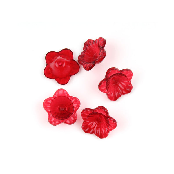 13mm Ruby Red Acrylic Flower Component Bead