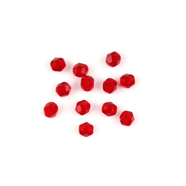 6mm Czech FP Red Faceted Bead