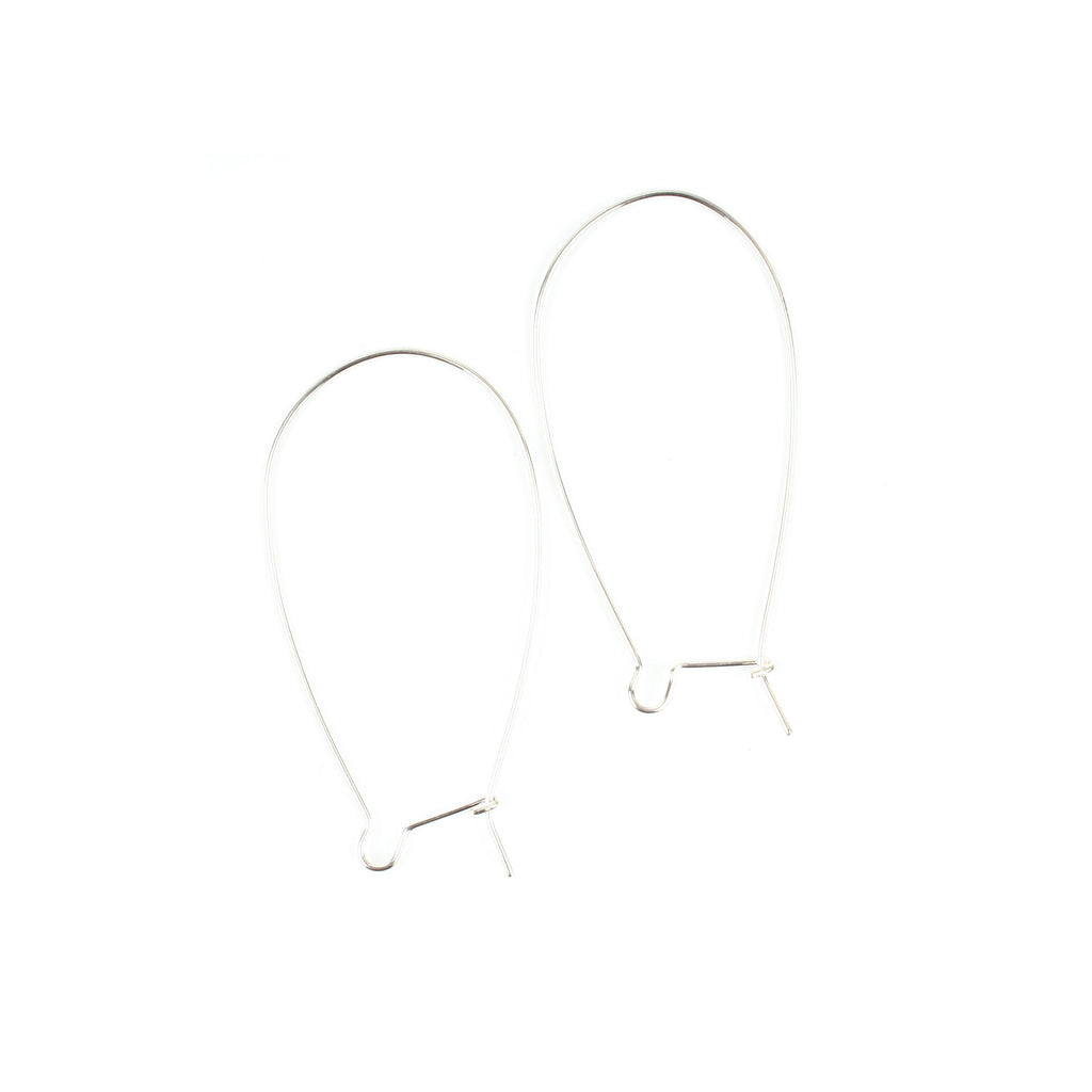 1 Pair Large Silver Kidney Wire Earrings