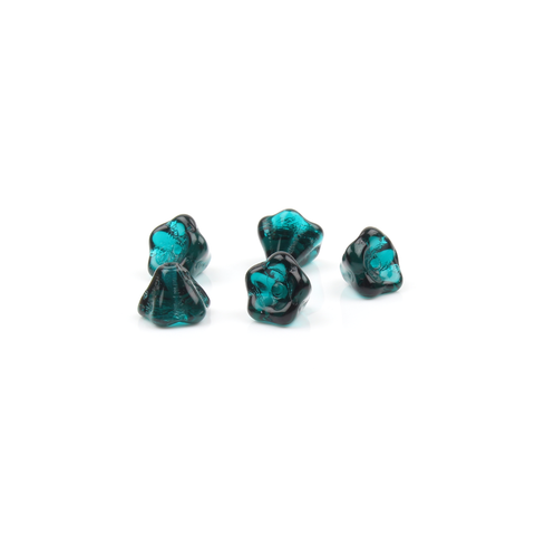 Czech Glass Teal Trumpet Flower