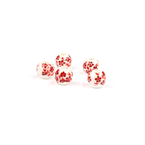 6mm Red & White Flower Pattern Bead