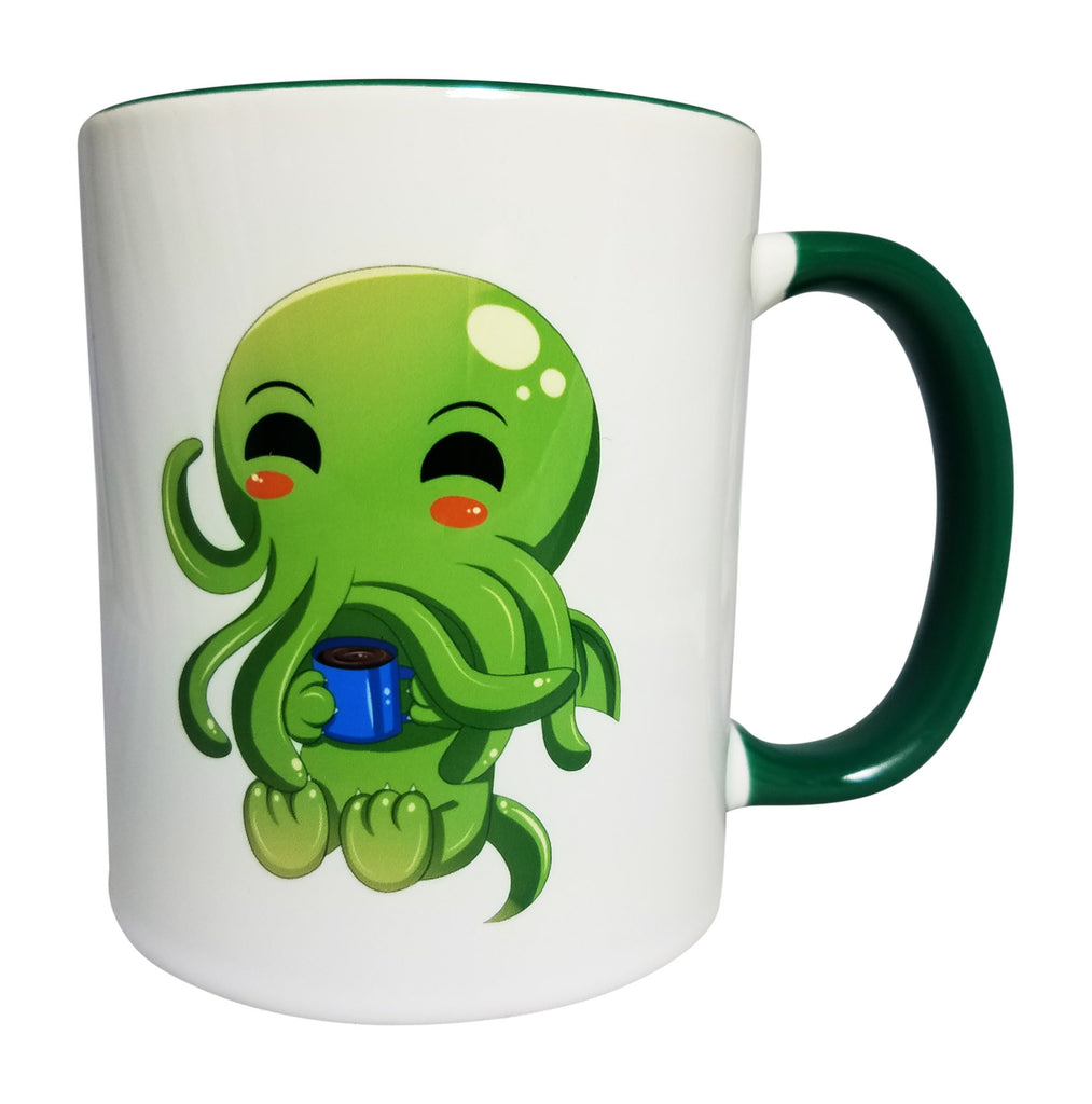 Accent Colors For Green Cute Cthulhu Drinking Coffee Ceramic Mug 11 Oz With Green Accent