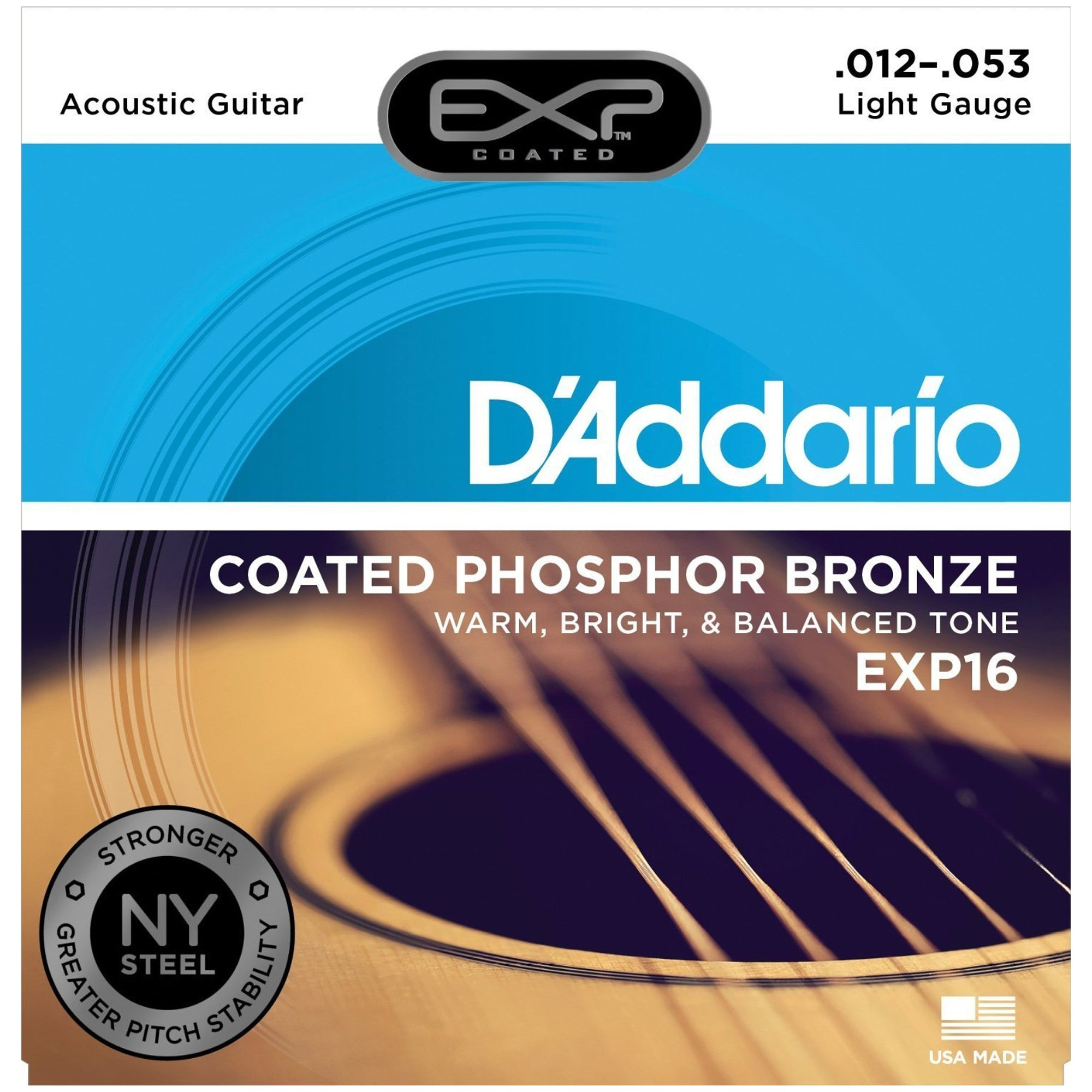 D'Addario 12-53 Coated Phosphor Bronze Acoustic Guitar Strings