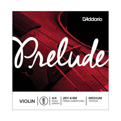 D'Addario Prelude Violin Single Strings - 4/4 Scale, Medium Tension