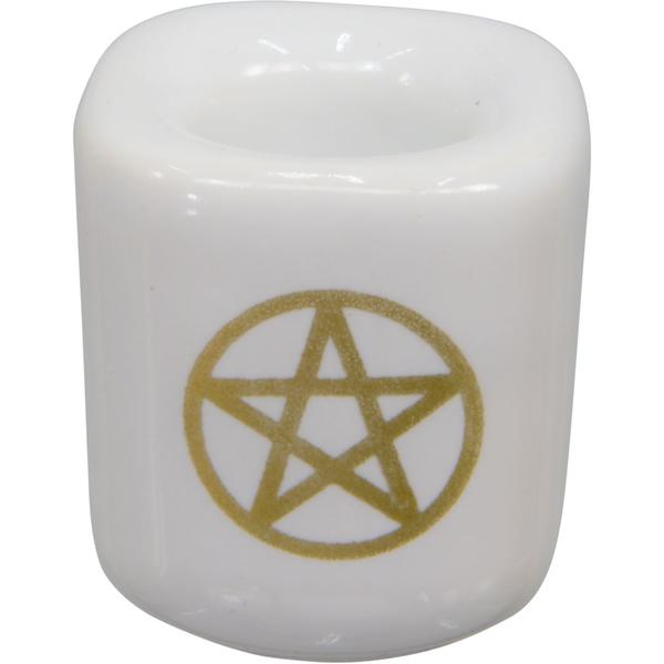White and Gold Pentacle Chime Candle Holder