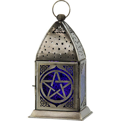 Cobalt & Purple Glass Pentacle Lantern - Hello Violet