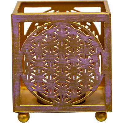 Metal Flower of Life Tealight Candle Holder - Hello Violet