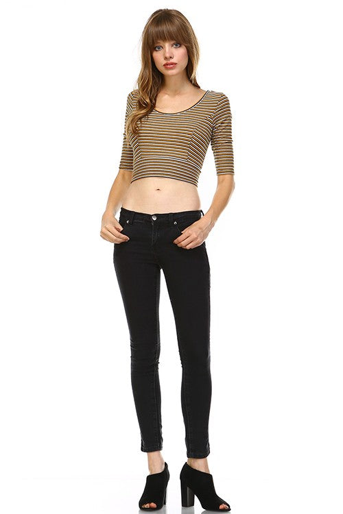 Mustard Stripe Ribbed Knit Crop Top - Hello Violet