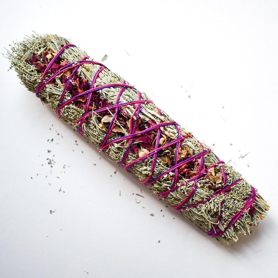 Desert Sage and Rose Smudge Wand 8""