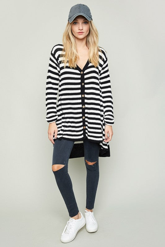 Hayden Black + White Striped Oversized Knit Cardigan Sweater - Hello Violet