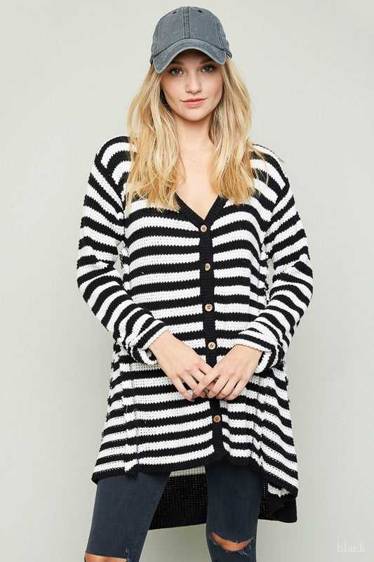 Hayden Black + White Striped Oversized Knit Cardigan Sweater