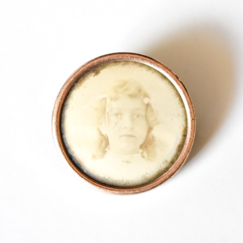 Victorian Girl Gold Filled Photo Brooch Pin