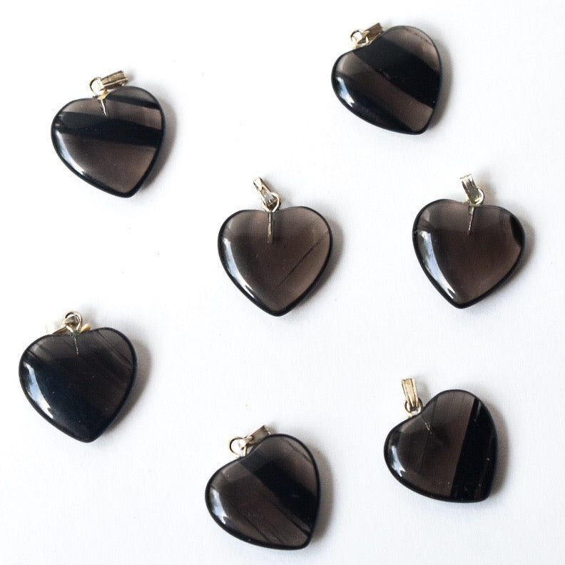 Midnight Lace Obsidian Heart Pendant Charm - Hello Violet