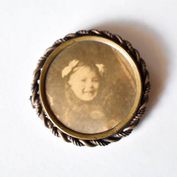 Victorian Girl Brass Rope Photo Brooch Pin