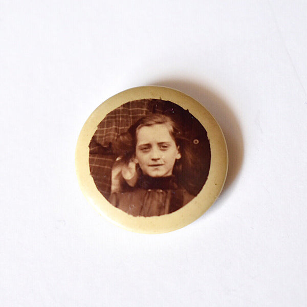Young Victorian Girl Photograph Celluloid Pin