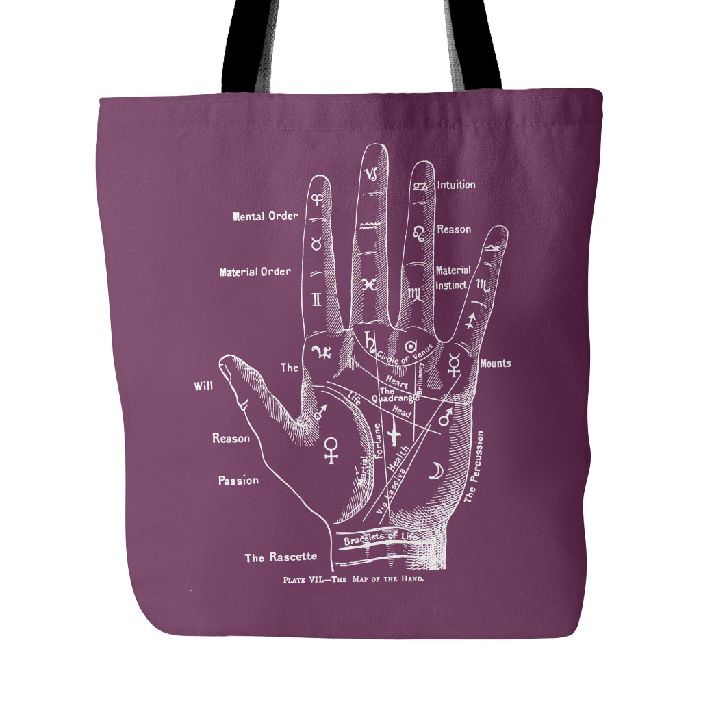 Palmistry Chart Tote - Hello Violet
