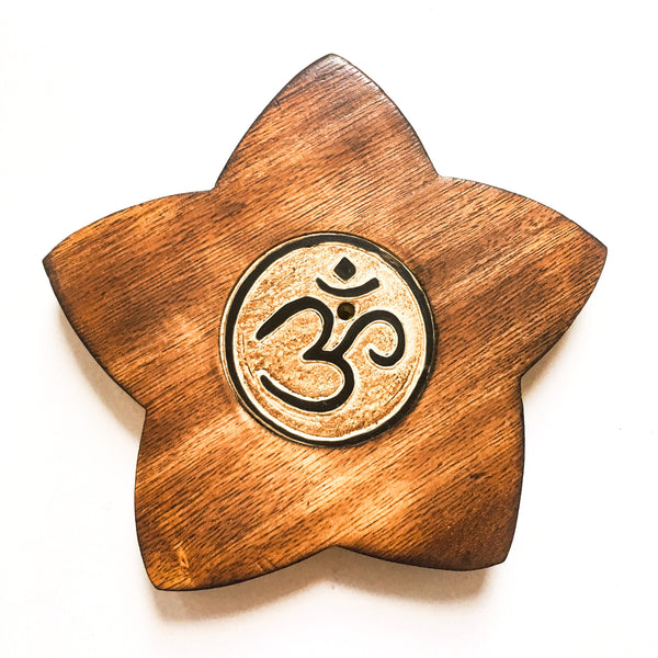 Om Wood Incense Burner - Hello Violet